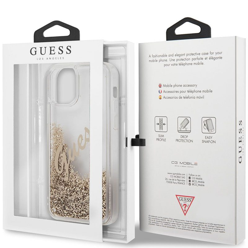 Guess Silicone Liquid Glitter Vintage Gold Coque iPhone 12 Pro Max
