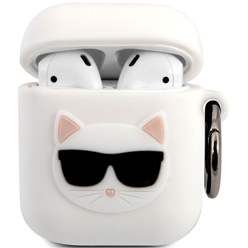 Karl Lagerfeld Choupette Head AirPods Silicone Case White