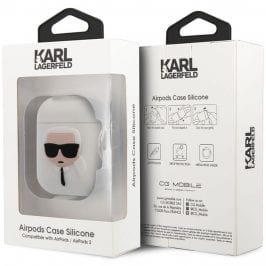 Karl Lagerfeld Head AirPods Silicone Case White