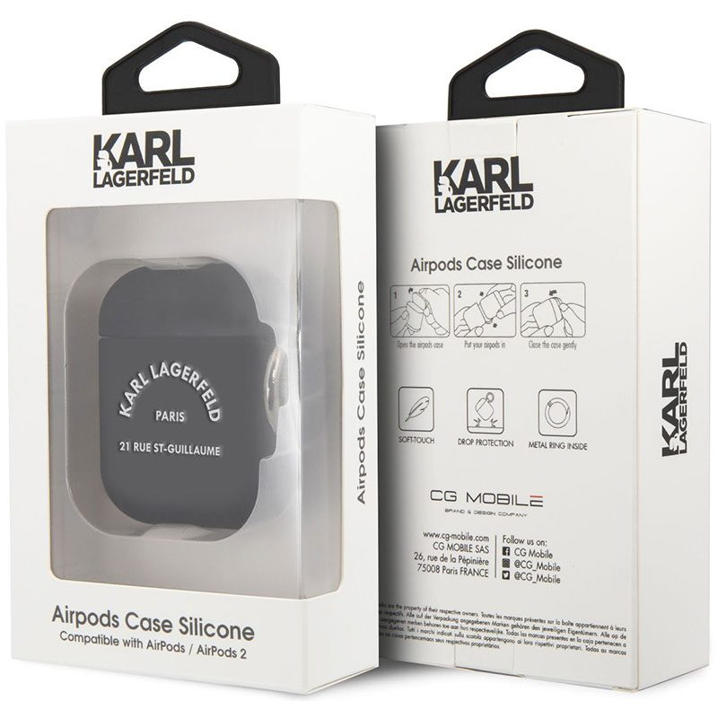 Karl Lagerfeld Rue St Guillaume AirPods Silicone Case Black