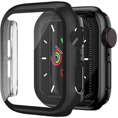 Protective Glass Coque for Apple Watch Black Glossy