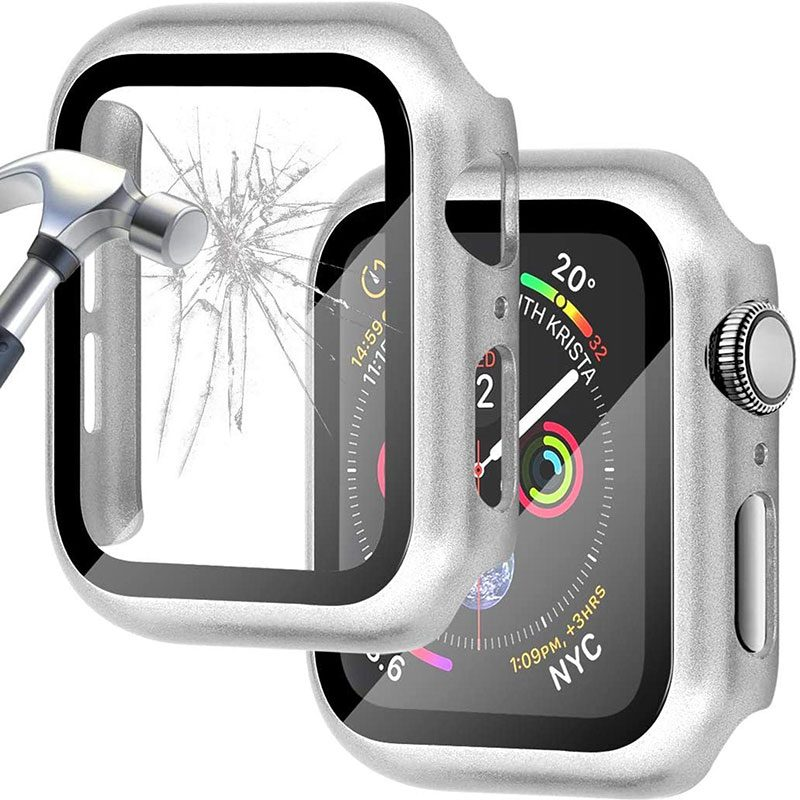 Protective Glass Coque for Apple Watch Bright Silver