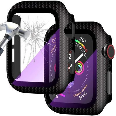 Protective Glass Coque for Apple Watch Carbon Purple