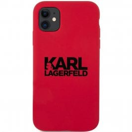 Karl Lagerfeld Stack Black Logo Silicone Red Coque iPhone 11