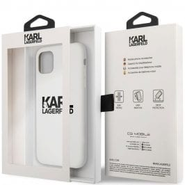 Karl Lagerfeld Stack Black Logo Silicone White Coque iPhone 11