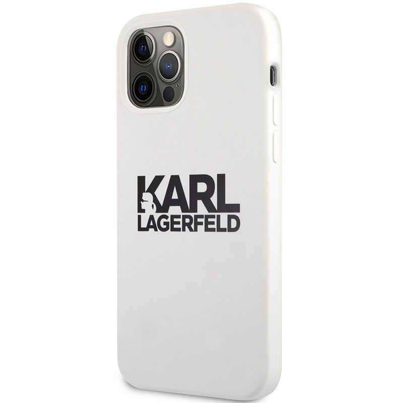 Karl Lagerfeld Stack Black Logo Silicone White Coque iPhone 12/12 Pro