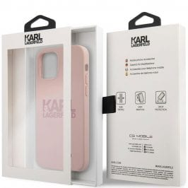 Karl Lagerfeld Stack Pink Logo Silicone Pink Coque iPhone 12/12 Pro