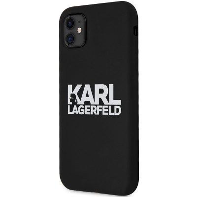 Karl Lagerfeld Stack White Logo Silicone Black Coque iPhone 11