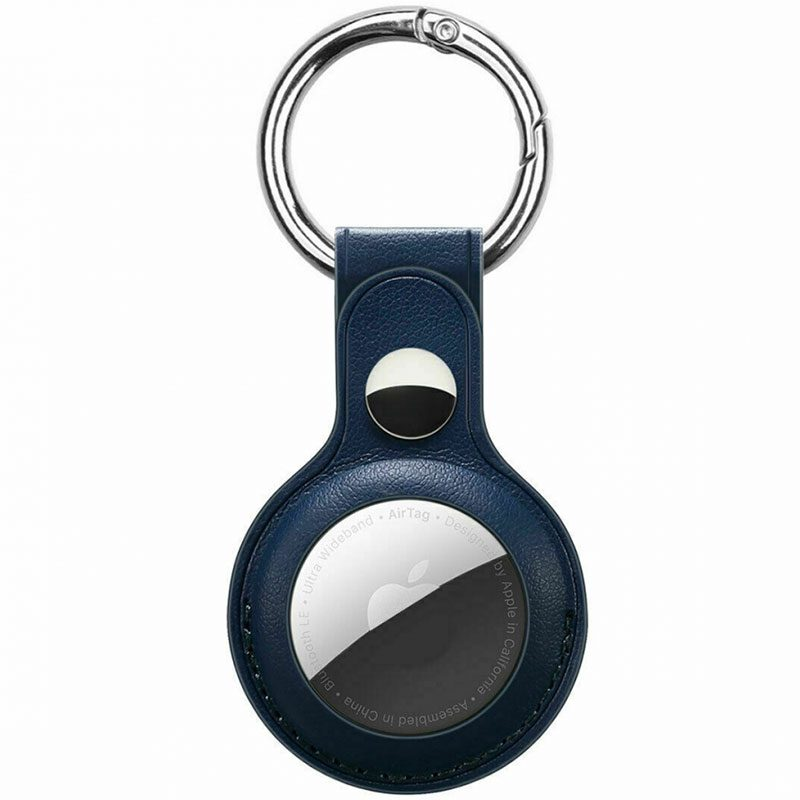 Leather Key Ring Case for AirTag Navy Blue