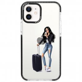 Woman Black Haired With Baggage Coque iPhone 12/12 Pro