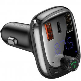 Baseus Car Charger Bluetooth Fm Transmitter T-typed Smart QuickCharger MP3 Black