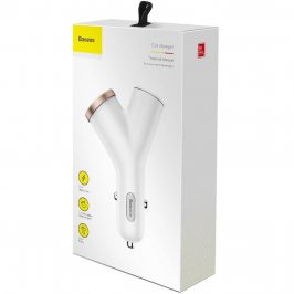Baseus Car Charger Y-type Dual USB + Cigarette Lighter Extended 3.4A White
