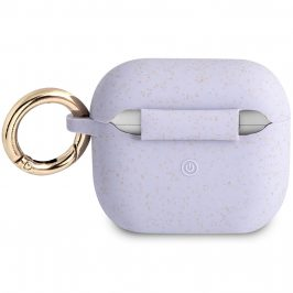 Guess Glitter Printed Logo AirPods 3 Silicone Case Violet