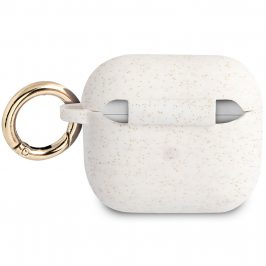 Guess Glitter Printed Logo AirPods 3 Silicone Case White