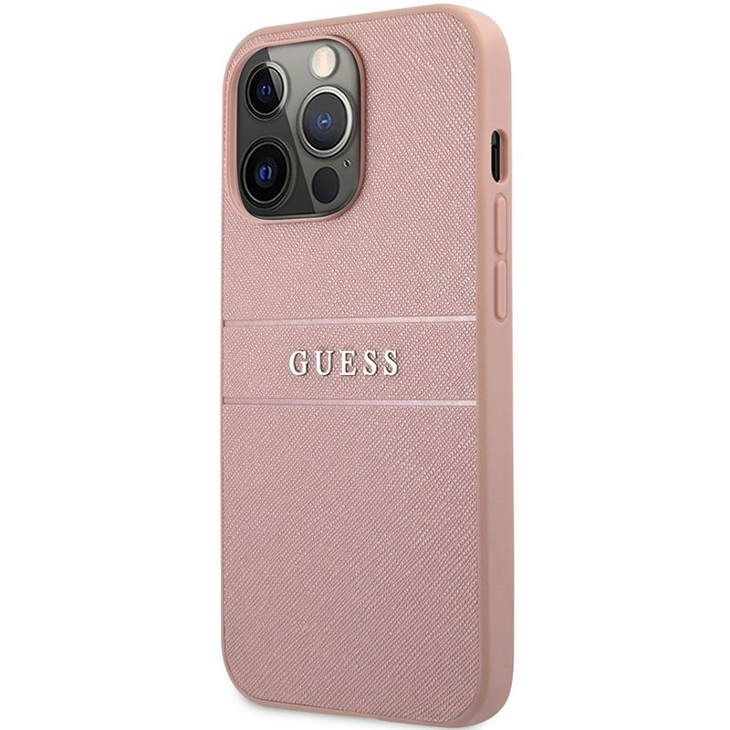 Guess PU Leather Saffiano Pink Coque iPhone 13 Pro