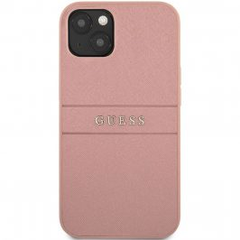 Guess PU Leather Saffiano Pink Coque iPhone 13