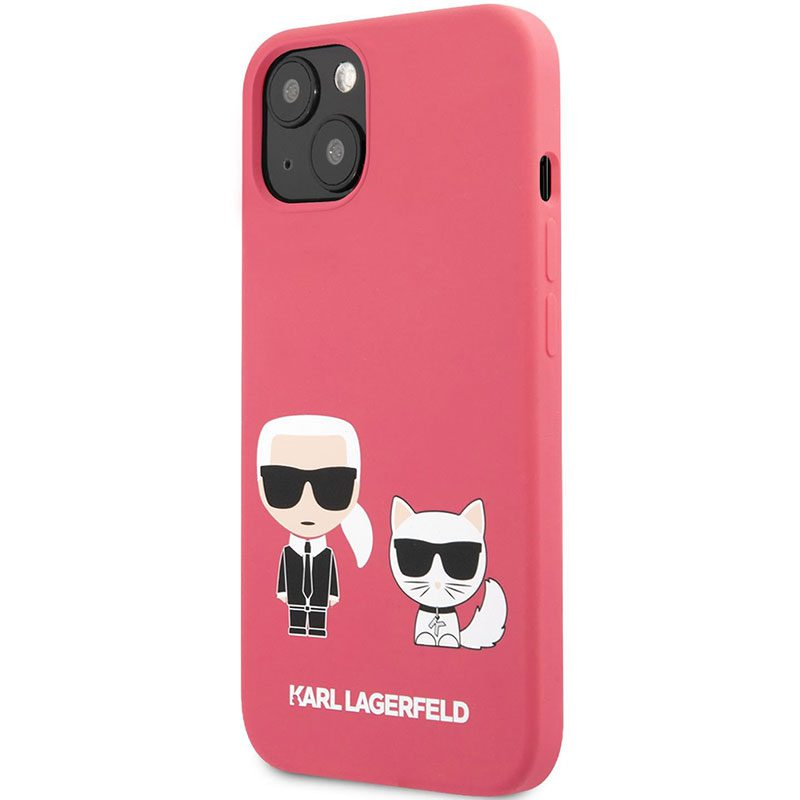 Karl Lagerfeld and Choupette Liquid Silicone Red Coque iPhone 13 Mini