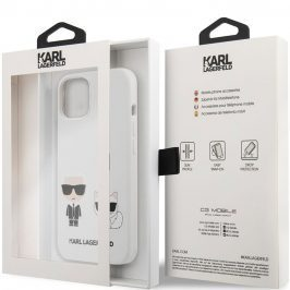Karl Lagerfeld and Choupette Liquid Silicone White Coque iPhone 13