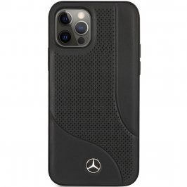 Mercedes Perforated Leather Black Coque iPhone 12/12 Pro