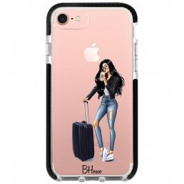 Woman Black Haired With Baggage Coque iPhone 8/7/SE 2 2020
