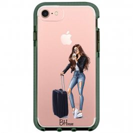 Woman Brunette With Baggage Coque iPhone 8/7/SE 2 2020