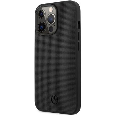 Mercedes Genuine Leather Meshed Black Coque iPhone 13 Pro
